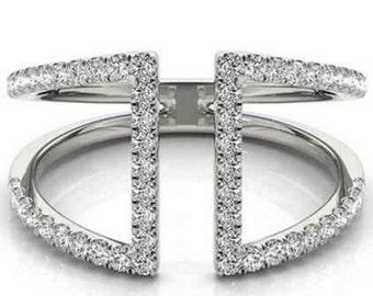 1/2ct Diamond Ring Open Fashion Right Hand Split Band White Gold, Split Shank, Set it 10k White Gold