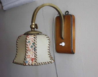 Vintage Art Deco Table Lamp or Sconce Light. Wooden Base, Romantic Floral Lampshade