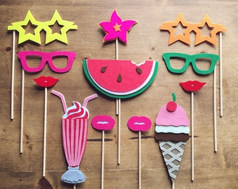 Ultimate Summer Party Photo-Booth Prop Set | Summer Photo-Booth Props | Stiff FELT and Soft FELT | Summer Party Props