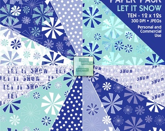LET IT SNOW - Digital Paper Pack - Instant Download - for Scrapbooking, Journaling, Wrapping Paper, Cards, Decoupage, Crafts, Collage
