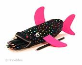 Shark Bag by MinneBites / Handmade Shark Pencil Case - Kids Rainbow Fish - Shark Birthday Party Gift Set - Colored Pencils - Ready to Ship