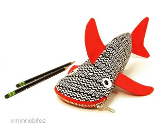 Fun Gift for Boy - Shark Zipper Pouch - Red Shark - Guys Birthday Gift - Pencil Case - Cute Office Organizer - Pencil Bag - School Bag