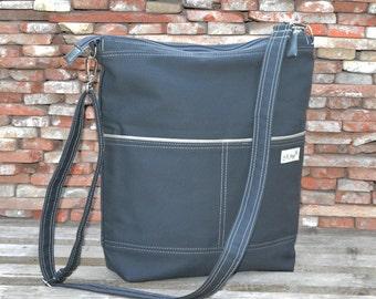 Diaper bag, Zippered crossbody bag, Weekender overnight bag, unisex laptop bag, charcoal gray macbook carry all, minimalist functional bag