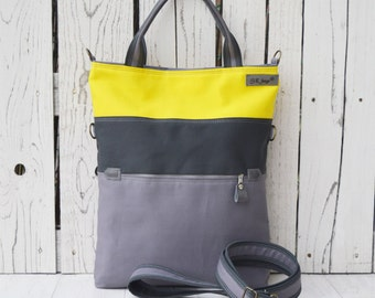 Striped Messenger tote ~ grey yellow canvas cross body, Convertible bag, Women laptop carrier, Unique gift for College studetns, yellow bag
