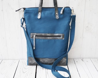 Petrol Blue Canvas Bag, Leather tote bag, Convertible messenger cross body, casual overnight bag, unisex laptop carrier, gift for women men