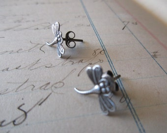 tiny sterling silver dragonfly earrings -  pierced, studs