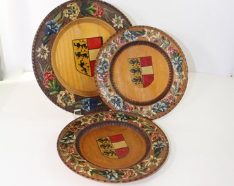 German Hand painted carved plates x 3