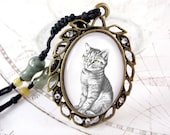 Hand Drawn Cat Necklace - Beaded String, Antique Brass Plated Pendant