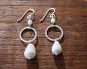 Sterling Silver Maui found Shell Earrings with Pearl