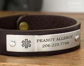 Medical Alert Bracelet - Custom Fit Leather Bracelet - Hand Crafted in USA