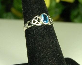 Blue Topaz Ring, Size 6.5, Celtic Design, Sky Blue Topaz, Sterling Silver, December Birthstone, Light Blue Gemstone, Oval Blue Topaz