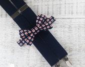 Boy Suspender Bow Tie Set - Blue & Orange Polka Dot Bow Tie - Navy Blue Suspenders - Wedding Accessory