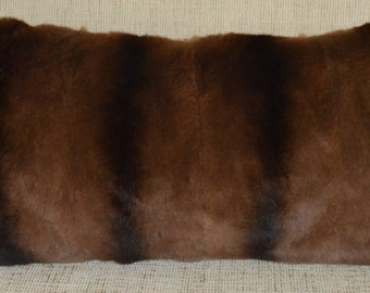 Real Fur Pillow Sheared Weasel dyed brown chinchilla new  made in usa authentic fur cushion