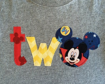Mickey Mouse Birthday Shirt Two Second