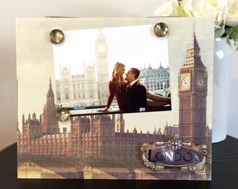 "Big Ben Over the Thames River London England travel gift handmade magnetic picture frame holds 5"" x 7"" photo 9"" x 11"" size"