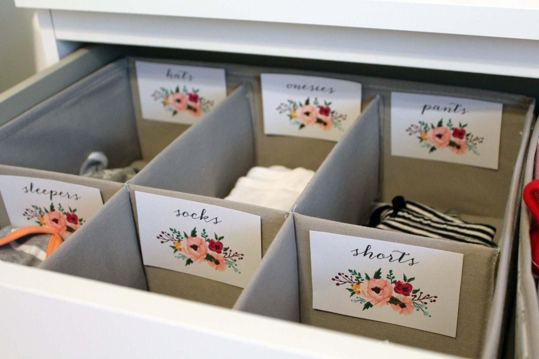 Floral Printable Baby Nursery Drawer Labels Print Yourself