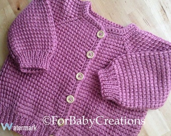 Plum-wine Rose Crochet Baby Girl Sweater - Tunisian Crochet  - MADE TO ORDER - Handmade