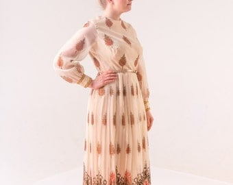 1970's Alfred Shaheen Maxi Dress/ 70's Full Length Gown Deadstock NWT
