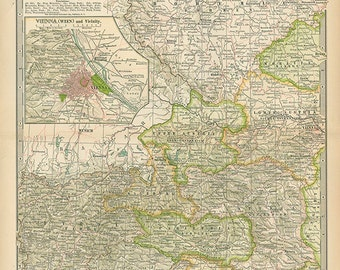 AUSTRIA-HUNGARY Western Part 1897 MAP - Century Atlas Page  Book Plate Paper 90