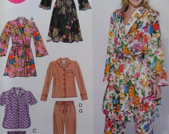 """2012 Belted Wrap Robe & Pajamas Pattern McCall's 6659 Miss 8-16 Bust 31.5-38"""". PAJAMA PANTS or SHORTS and Tops Pattern at WhiletheCatNaps"""