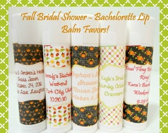 SALE FALL Bridal Shower Lip Balm - Fall Bachelorette Lip Balm Favors - Fall Favors - Custom Lip Balm - Set of 15