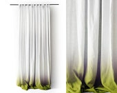 Ombre curtain Linen drapes Green fade to white Pinch pleat Blackout curtain