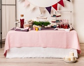 Pink linen tablecloth Pale pink table linens by Lovely Home Idea