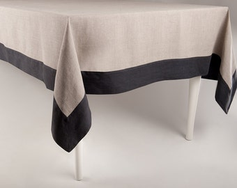 Linen tablecloth, Large tablecloth with matching or contrasting color border