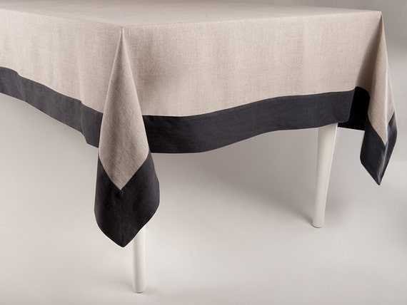 Linen tablecloth Large border tablecloth Custom Size Exlusive table linens by Lovely Home Idea
