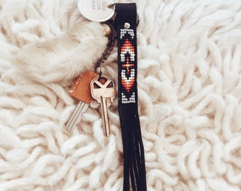 BLK-01,eco-friendly Native American inspired hand-beaded claimed genuine leather fringe keychain