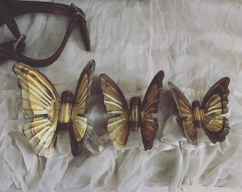 Vintage Trio Of Brass Butterflies