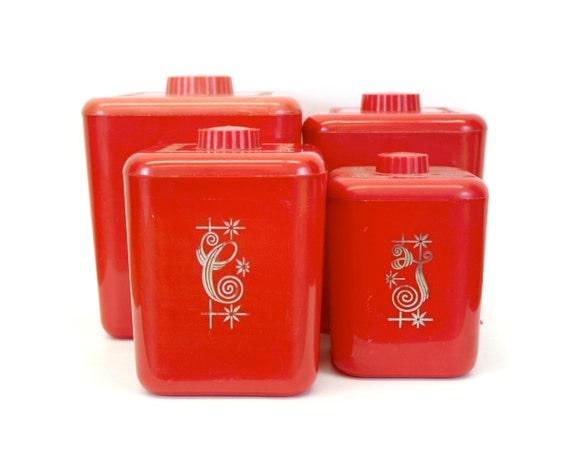 Vintage Red Lustro Ware Elegante Plastic Nesting Kitchen