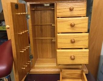 Vintage Oak Jewelry Box. Wood Jewelry Cabinet. Storage Cabinet.  N0.0095