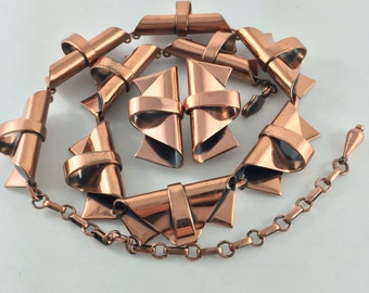 Renoir Copper Necklace and Earrings - Copper Necklace - Mid Century Modern Necklace No.00600 cs