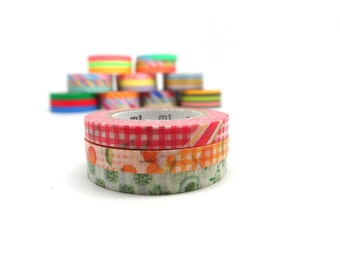 Orange Washi Tape - Collage Print Washi Tape - Slim Washi Tape - Flower Washi Tape - MT Washi Tape Set of 3