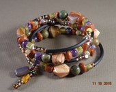 Purple, Rust and Olive Green Stone Wrap Bracelet