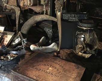 Primitive Antique Ouija Box of Voodoo Hoodoo with Conjure Doll and Mysterious Contents at Gothic Rose Antiques