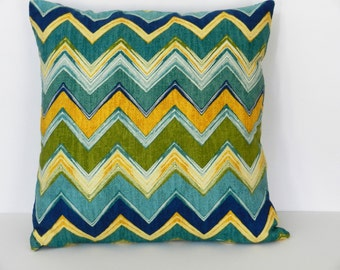 Chevron Zigzag Throw Pillow Cover Green, Turquoise, Yellow Screen Print, Mill Creek  Home Dec Fabric  18 x 18 inch with zipper closure