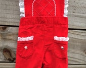 Royal Red Baby Girl Overalls - 0 to 3 months