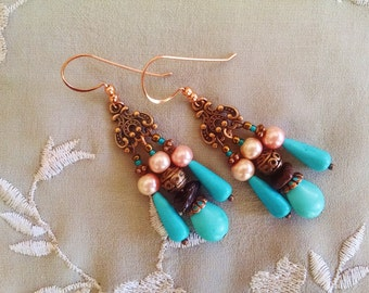 Copper chandelier earrings with garnet, peach pearl and turquoise