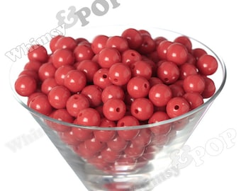 12mm - Cherry Red Gumball Beads, 12mm Gumball Beads, 12mm Beads, Small Gumball Beads, Opaque Acrylic Round Beads, Bubble Gum Beads, 2mm Hole