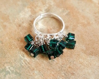 Lovely Little Adjustable Charm Ring/Shaggy Ring/Crystal Ring