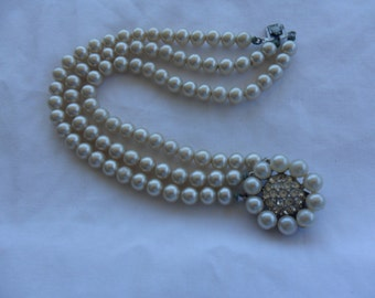 Authentic Vintage Signed MARVELLA Beautiful  Three Row Glass Faux Pearl Strand Bracelet Beautiful Rhinestone Pearl Silver Clasp Bride