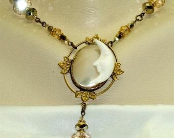 Vintage Victorian Steampunk Leaf Filigree Carved Bone Moon Celestial Mother of Pearl Swarovski Bead Pendant Necklace