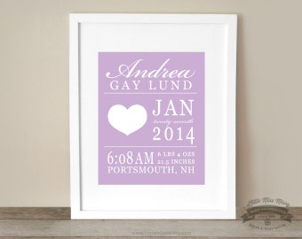 Baby Heart, Love Theme, Statistics, Birth Details, Custom Art Print, Room Decor, 8x10 Print, Hearts