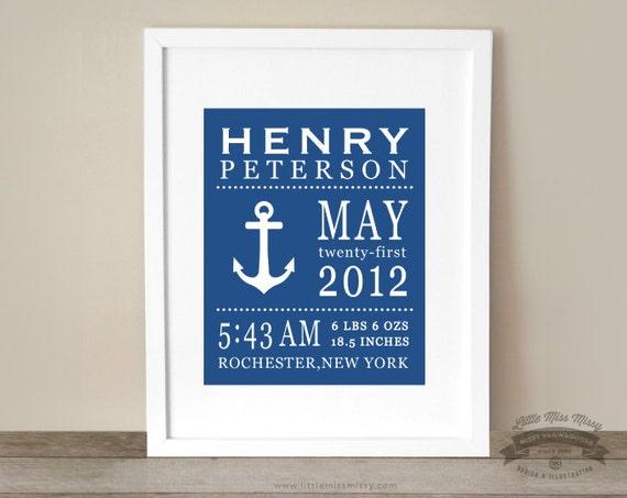 Baby Nautical Theme, Statistics, Birth Details, Custom Art Print, Room Decor, 8x10 Print, Anchor