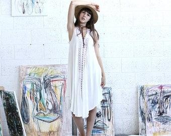 Summer SALE V neck white dress, oversized dress, summer white dress, Sunderss.