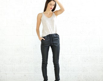 Faux Leather Pants, Black.