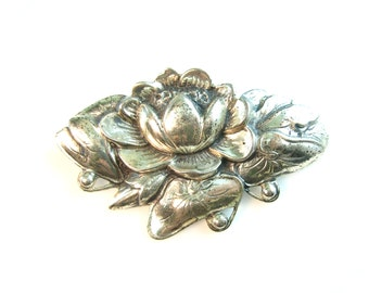 Danecraft Jewelry. Sterling Silver Flower Brooch. Lotus, Water Lily. Vintage 1940s Retro Jewelry by Victor Primavera