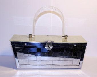 Vintage Mirrored Basket Weave Purse, Mirror Box Purse, Vintage Box Purse, Lucite Handled Purse